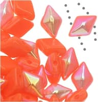 Czech Glass DiamonDuo, 2-Hole Diamond Shaped Beads 5x8mm, 12 Grams, Coral AB