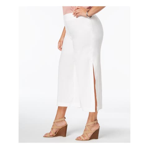 NY COLLECTION Womens Ivory Split Wide Leg Cropped Pants Plus Size: 2X