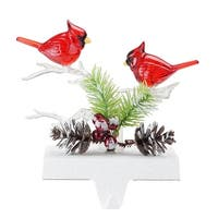 "6.8"" Red Cardinals Battery Operated Christmas Stocking Holder with LED Lights"