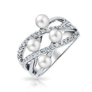 Bling Jewelry 925 Sterling Silver CZ Imitation Pearl Criss Cross Cocktail Ring - White