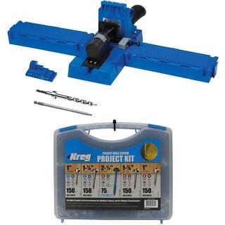 Kreg K5 Pocket-Hole Jig with Pocket-Hole Screw Project Kit in 5 Sizes - Blue