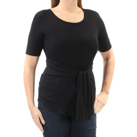 Womens Black Short Sleeve Jewel Neck Casual Top Size L