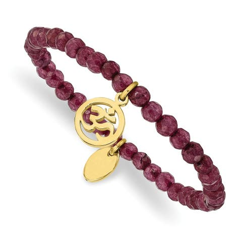 Chisel Stainless Steel Polished Yellow IP-plated OHM Purple Jade Stretch Bracelet