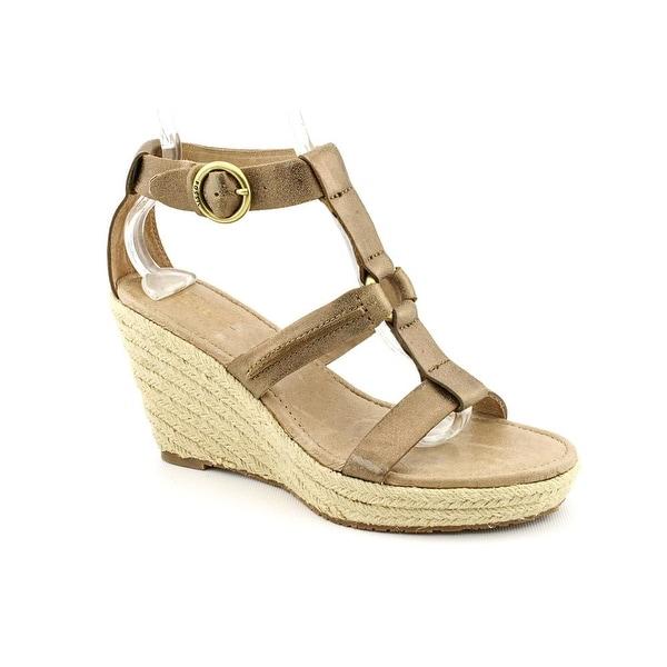 Fossil Selena Women Open Toe Leather Bronze Wedge Sandal