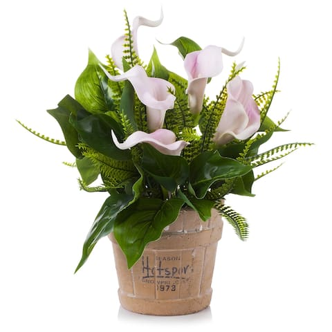 Enova Home Real Touch Lily Flower Arrangement with Green Leaf in Pot for Home Garden Decoration