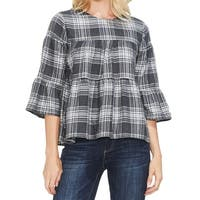 Vince Camuto Dove Gray Womens Size XL Plaid Bell-Sleeve Knit Top