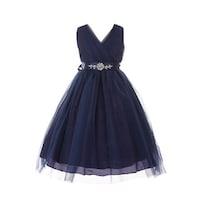 f4fd9d2bd Shop Girls Navy Illusion Neckline Rhinestone Tulle Junior Bridesmaid ...