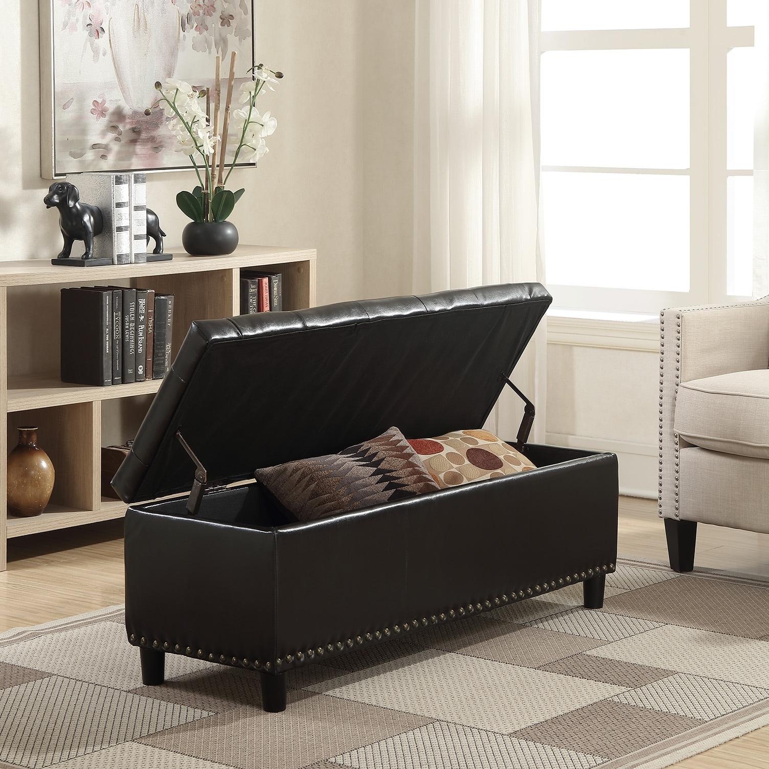 Strange Belleze 48 Rectangular Faux Leather Storage Ottoman Bench Footrest Large Dark Brown Machost Co Dining Chair Design Ideas Machostcouk