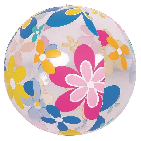 "20"" Colorful 6-Panel Flower Print Inflatable Beach Ball Swimming Pool Toy"