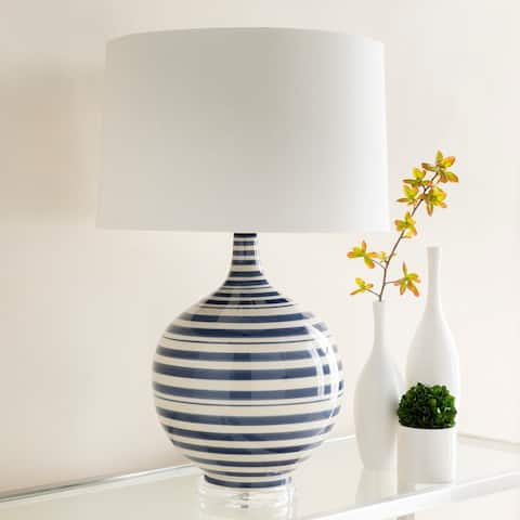 Gaselle Table Lamp with Blue Base and White Shade
