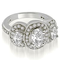 2.50 cttw. 14K White Gold Halo Prong Three Stone Oval Diamond Engagement Ring