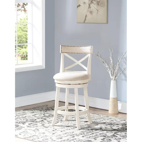 York Antique White 24-inch Counter Stool with Fabric Seat
