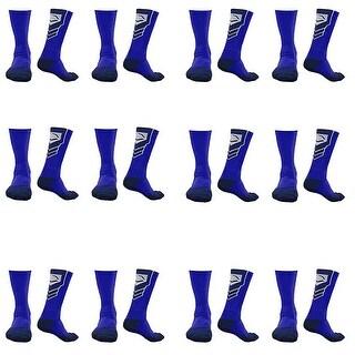 EvoShield Performance Crew Socks (Royal Blue w/ Navy / Medium / 12 Pairs)