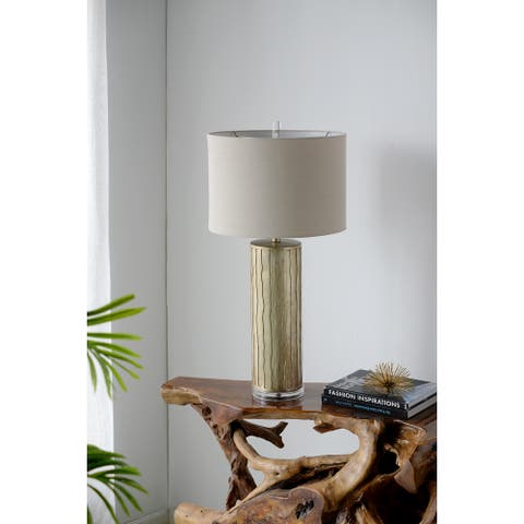 """16x16x31.5"""" Tall Cylinder Table Lamp - gold"""