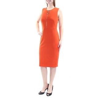Womens Orange Sleeveless Below The Knee Sheath Wear To Work Dress Size: 8