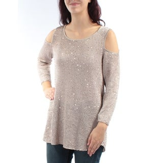 ALFANI $80 Womens New 1124 Gold Sequined Cut Out 3/4 Sleeve Tunic Sweater M B+B