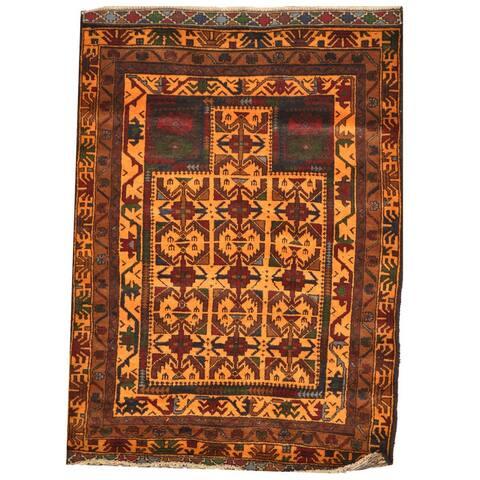 Handmade One-Of-A-Kind Tribal Balouchi Wool Rug (Afghanistan) - 3' x 4'3