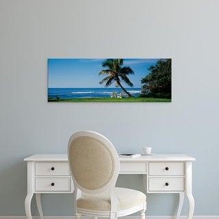 Easy Art Prints Panoramic Image 'Two adirondack chairs on the beach, Kaneohe Bay, Oahu, Hawaii Islands' Canvas Art