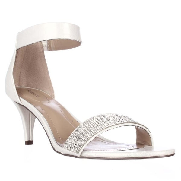 SC35 Phillys Ankle-Strap Evening Sandals, White Silver
