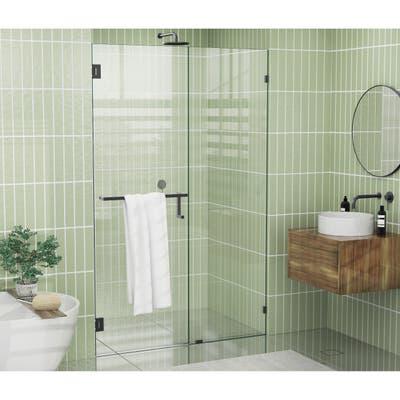 """Glass Warehouse 78"""" x 47"""" Frameless Towel Bar Shower Door - Wall Hinge"""