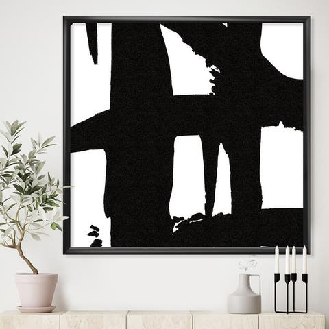 Designart 'Black & White Crossing Paths II' Modern & Contemporary Framed Art Print