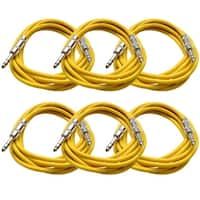 "SEISMIC AUDIO - 6 PACK Yellow 1/4"" TRS 10' Patch Cables"