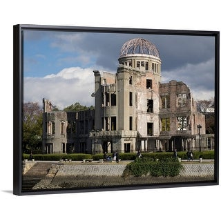 """Hiroshima Peace Memorial (Genbaku Dome), Hiroshima, Hiroshima Prefecture, Japan"" Black Float Frame Canvas Art"
