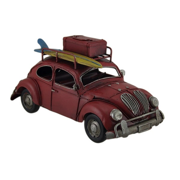 Loaded Up Beach Bound Red Retro Surfer Car Statue - 4.75 X 9.75 X 4.5 inches