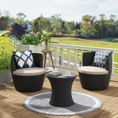 Patio Furniture Outdoor Seating 3 Piece Round Bistro Set