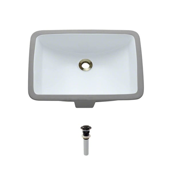 "Rene R2-1002-W 20-3/4"" Porcelain Undermount Bathroom Sink with Overflow and Standard Pop-Up Drain"