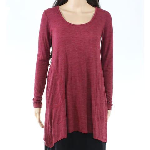 Allen Allen Womens Top Deep Red Size XS Knit Asymmetrical Scoop Neck