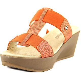 Bandolino Dani Women Open Toe Canvas Orange Wedge Sandal