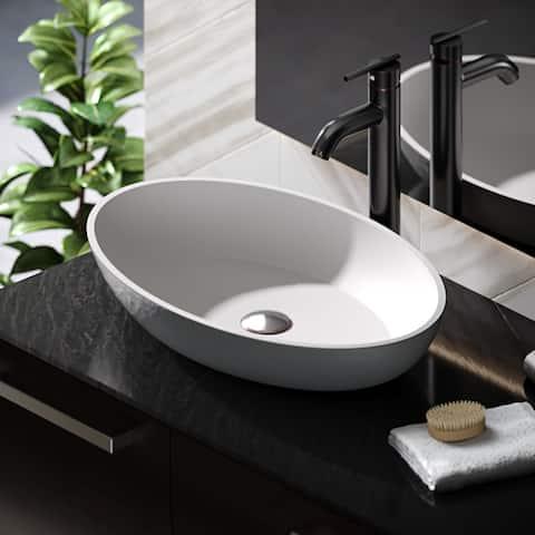 R11-5001-Platinum Stone Composite Oval Vessel Sink Kit
