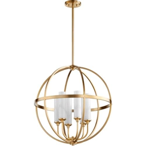 "Quorum International 662-6 Highline 6 Light 26"" Wide Globe Style Chandelier with Glass Shades - Gold"