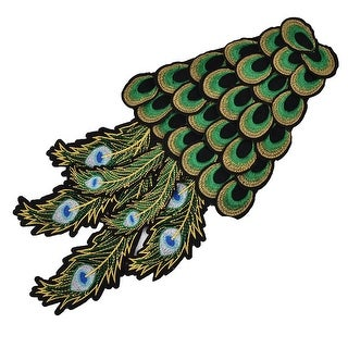 Polyester Peacock Shape DIY Craft Sewing Clothes Patch Decor Lace Applique Green