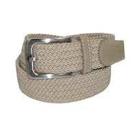 CTM® Men's Big & Tall Elastic Braided Stretch Belt with Silver Buckle