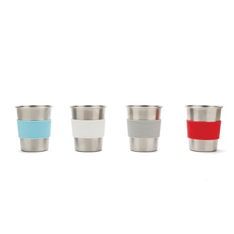 Stainless Steel Kids' Cups with Silicone Sleeves, Set of 4