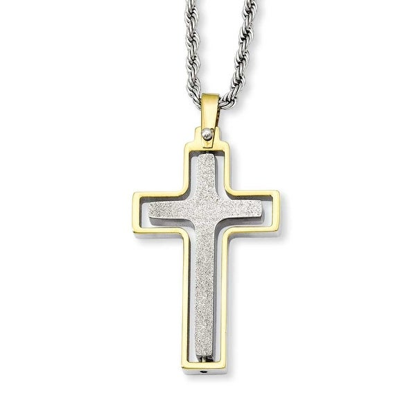 Stainless Steel Gold-plated Laser Cut Moveable Cross Pendant 22in Necklace (2 mm) - 22 in