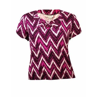Tahari Women's Sleeveless Cowl Neck Chevron Printed Blouse - White/Fuchsia