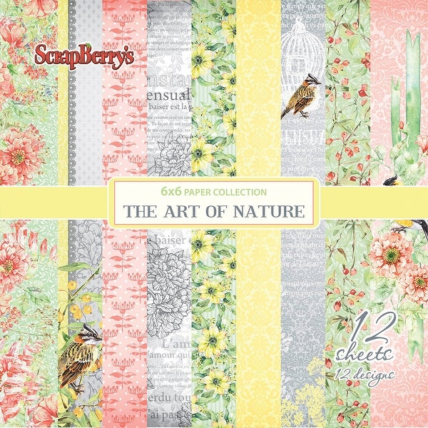 "Scrapberry's The Art Of Nature Paper Pack 6""X6"" 12/Pkg-Single-Sided"