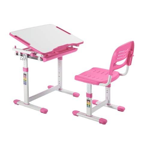 Conquer Kids Desk and Chair Set, Height Adjustable Children's School Workstation with Storage