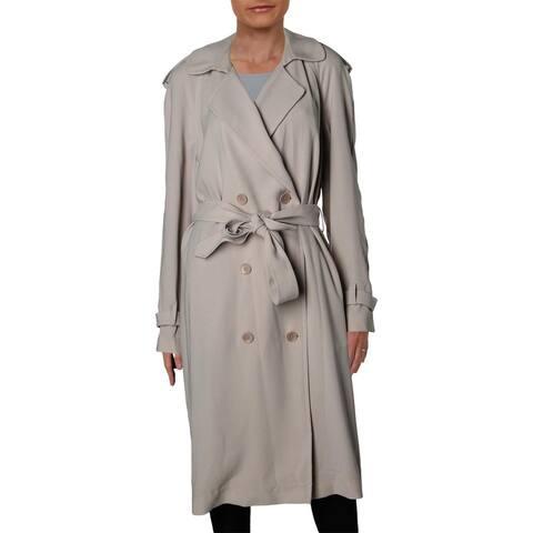 Elie Tahari Womens Trench Coat Crepe Long Sleeves