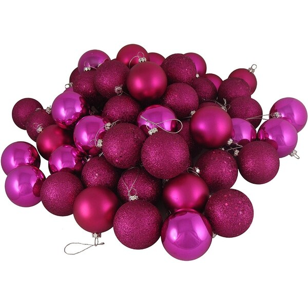 "16ct Pink Magenta Shatterproof 4-Finish Christmas Ball Ornaments 3"" (75mm)"
