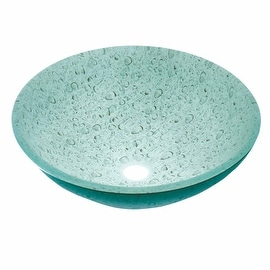 Tempered Glass Vessel Painted Waterdrop Bathroom Sink PopupIn