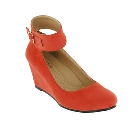 Red Circle Footwear Ontario Ankle Strap Comfort Wedge