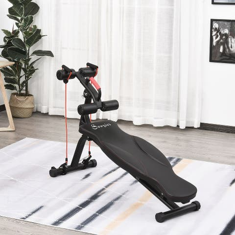 Soozier Multifunctional Sit Up and Dumbbell Weight Bench with 4-Angle Adjustable Backrest & Lightweight Portable Design