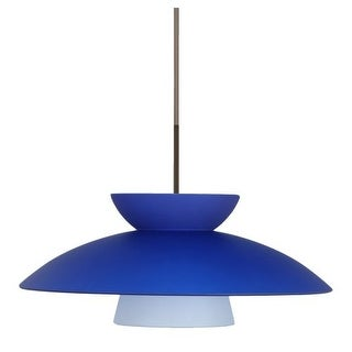 Besa Lighting 1JT-451323 Trilo 1 Light Cord-Hung Pendant with Blue Matte Glass Shade
