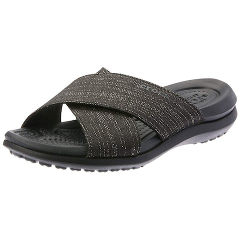 Crocs Women's Capri Shimmer Cross-Band Sandal - 4