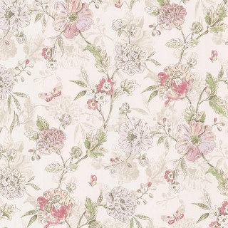Brewster 347-20111 Beecroft Pink Butterfly Peony Trail Wallpaper
