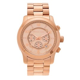 Michael Kors Men's 'Runway' MK8096 Rose Goldtone Stainless Steel Chronograph Bracelet Watch